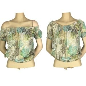 American Rag Floral Top On/Off Shoulder Sheer XS